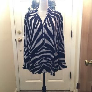 New York and company animal print blouse XL